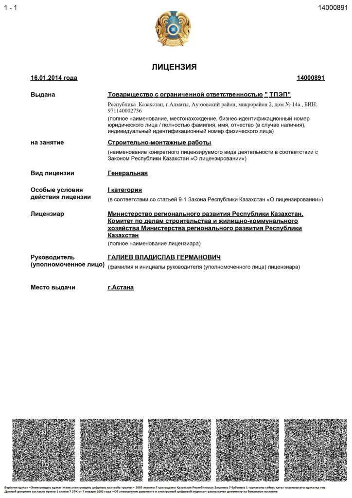 ТПЭП СМР 1 категория 0001